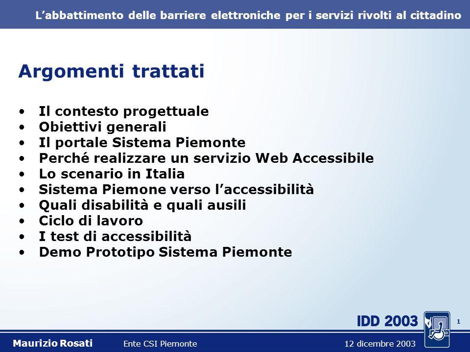 11 Labbattimento delle barriere elettroniche per i servizi rivolti al cittadino Demo Prototipo Sistema Piemonte Maurizio Rosati Ente CSI Piemonte 12 dicembre 2003