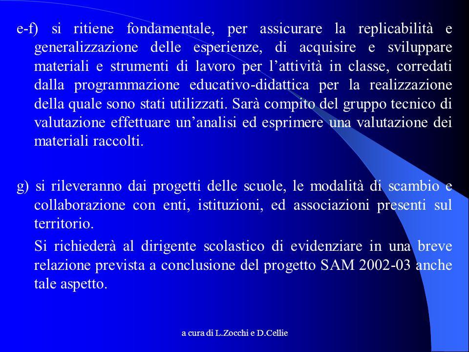 a cura di L.Zocchi e D.Cellie e-f) si ritiene fondamentale, per assicurare la replicabilità e generalizzazione delle esperienze, di acquisire e svilup