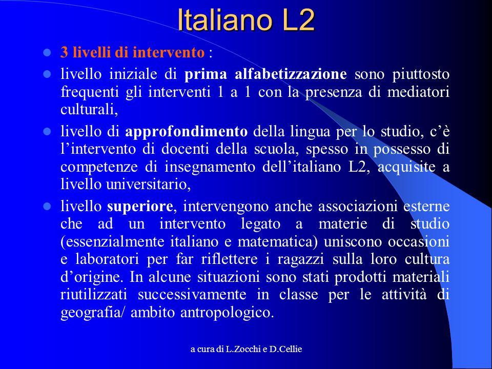 a cura di L.Zocchi e D.Cellie Italiano L2 3 livelli di intervento : livello iniziale di prima alfabetizzazione sono piuttosto frequenti gli interventi