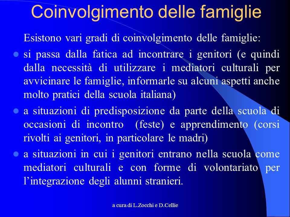 a cura di L.Zocchi e D.Cellie Coinvolgimento delle famiglie Esistono vari gradi di coinvolgimento delle famiglie: si passa dalla fatica ad incontrare