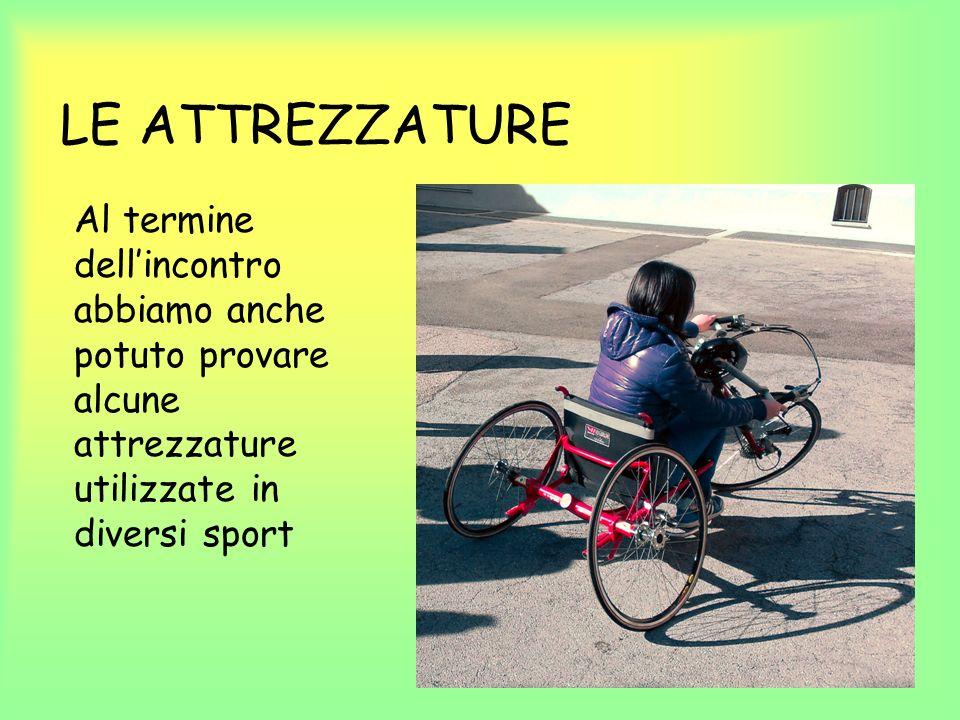 LE ATTREZZATURE Al termine dellincontro abbiamo anche potuto provare alcune attrezzature utilizzate in diversi sport