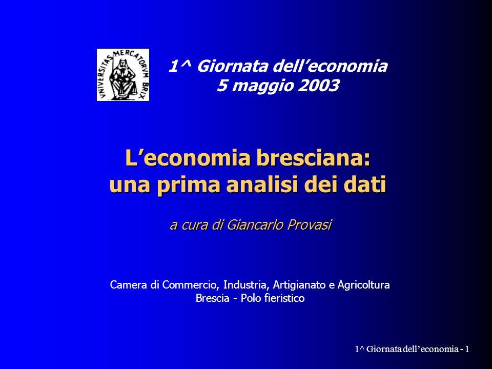 Giancarlo Provasi 1^ Giornata delleconomia - 12 Valore aggiunto per addetto Con 46 mila Euro per addetto, la provincia di Brescia è il fa- nalino di coda (insieme a Ber- gamo e a Como) per valore aggiunto prodotto.