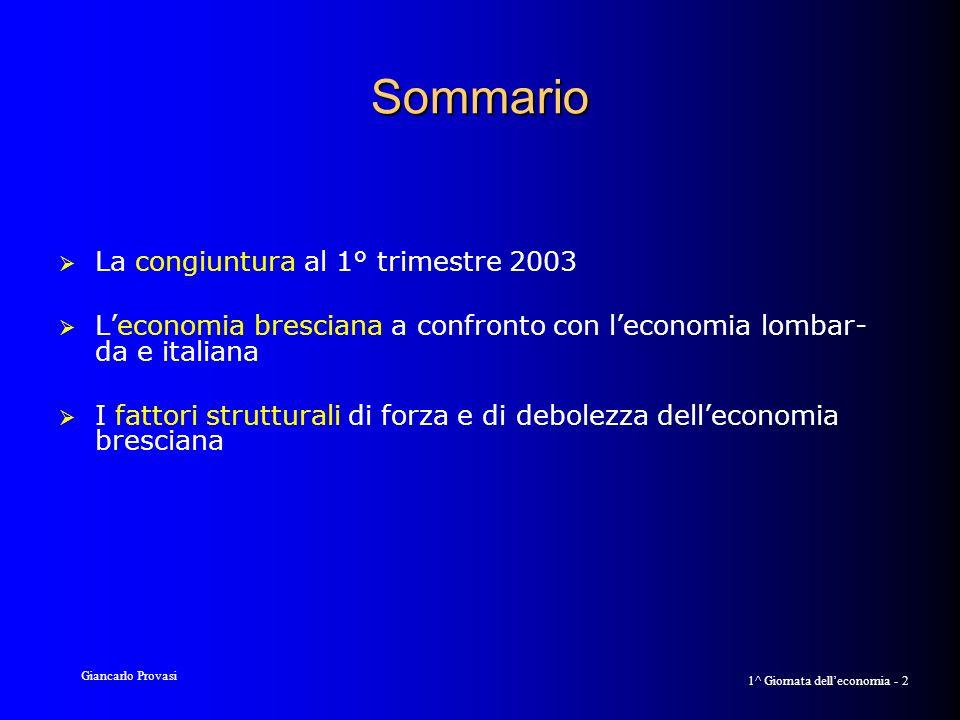 Giancarlo Provasi 1^ Giornata delleconomia - 2 Sommario La congiuntura al 1° trimestre 2003 Leconomia bresciana a confronto con leconomia lombar- da e italiana I fattori strutturali di forza e di debolezza delleconomia bresciana