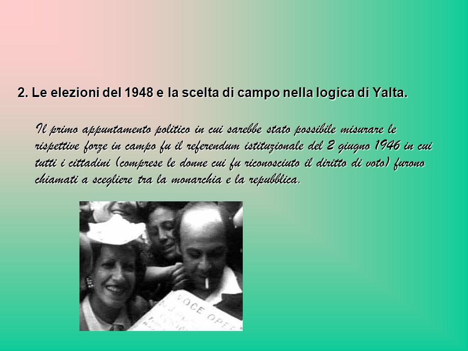 2. Le elezioni del 1948 e la scelta di campo nella logica di Yalta. Il primo appuntamento politico in cui sarebbe stato possibile misurare le rispetti