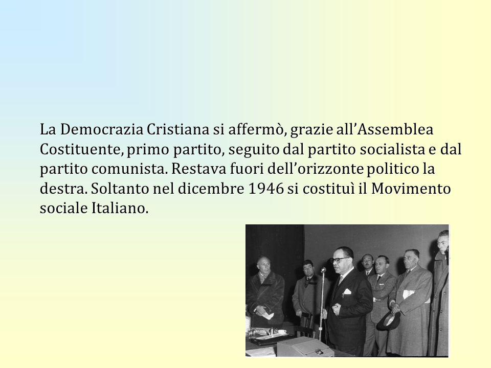 La Democrazia Cristiana si affermò, grazie allAssemblea Costituente, primo partito, seguito dal partito socialista e dal partito comunista. Restava fu