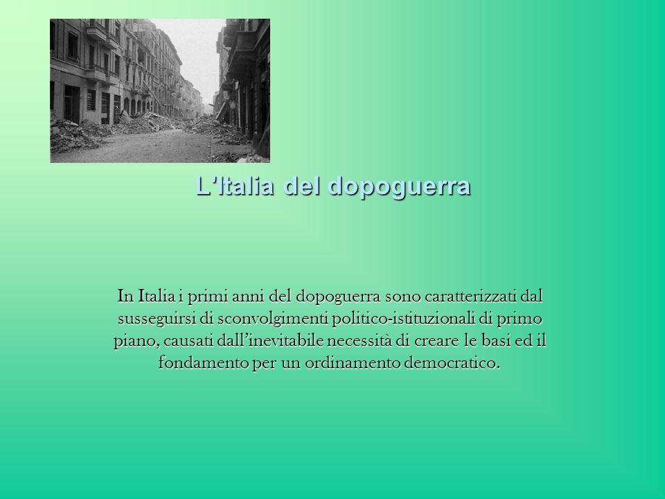 Liberata e riunificata nella primavera del 1945, lItalia si trovò ad affrontare, al pari delle altre nazioni uscite dal conflitto, i problemi della ricostruzione.