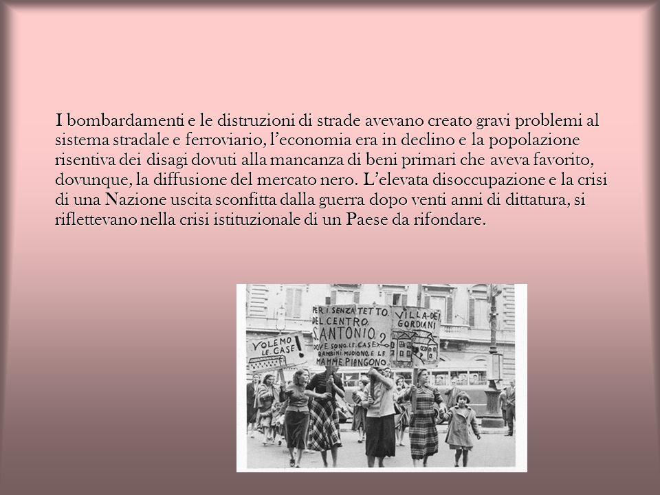 Il periodo che va dal referendum istituzionale del 2 giugno 1946 alle elezioni del 1948 è caratterizzato da una stabilità politica dovuta allalleanza tra i partiti protagonisti della Liberazione (comunisti, democristiani e socialisti) che si accordarono per lelezione del Primo Presidente della Repubblica, Enrico De Nicola.