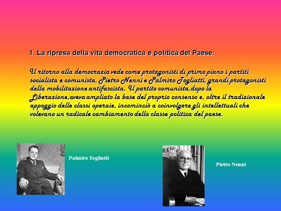 Come alternativa ai partiti di sinistra si presenta la Democrazia Cristiana, risorta dalle ceneri del Partito Popolare fondato da Don Sturzo nel 1919, ispirata alla dottrina sociale - cattolica e contraria alla lotta di classe.