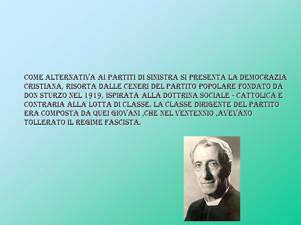 Come alternativa ai partiti di sinistra si presenta la Democrazia Cristiana, risorta dalle ceneri del Partito Popolare fondato da Don Sturzo nel 1919,