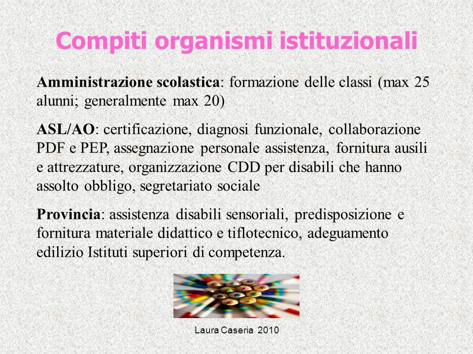 Laura Caseria 2010 Compiti organismi istituzionali Amministrazione scolastica: formazione delle classi (max 25 alunni; generalmente max 20) ASL/AO: ce