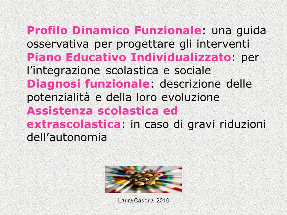 Laura Caseria 2010 Profilo Dinamico Funzionale: una guida osservativa per progettare gli interventi Piano Educativo Individualizzato: per lintegrazion