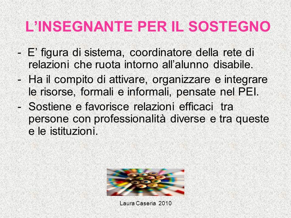Laura Caseria 2010 LINSEGNANTE PER IL SOSTEGNO - E figura di sistema, coordinatore della rete di relazioni che ruota intorno allalunno disabile. -Ha i