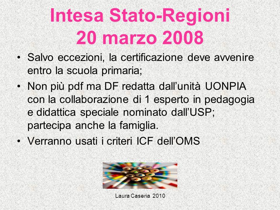 Laura Caseria 2010 Intesa Stato-Regioni 20 marzo 2008 Salvo eccezioni, la certificazione deve avvenire entro la scuola primaria; Non più pdf ma DF red