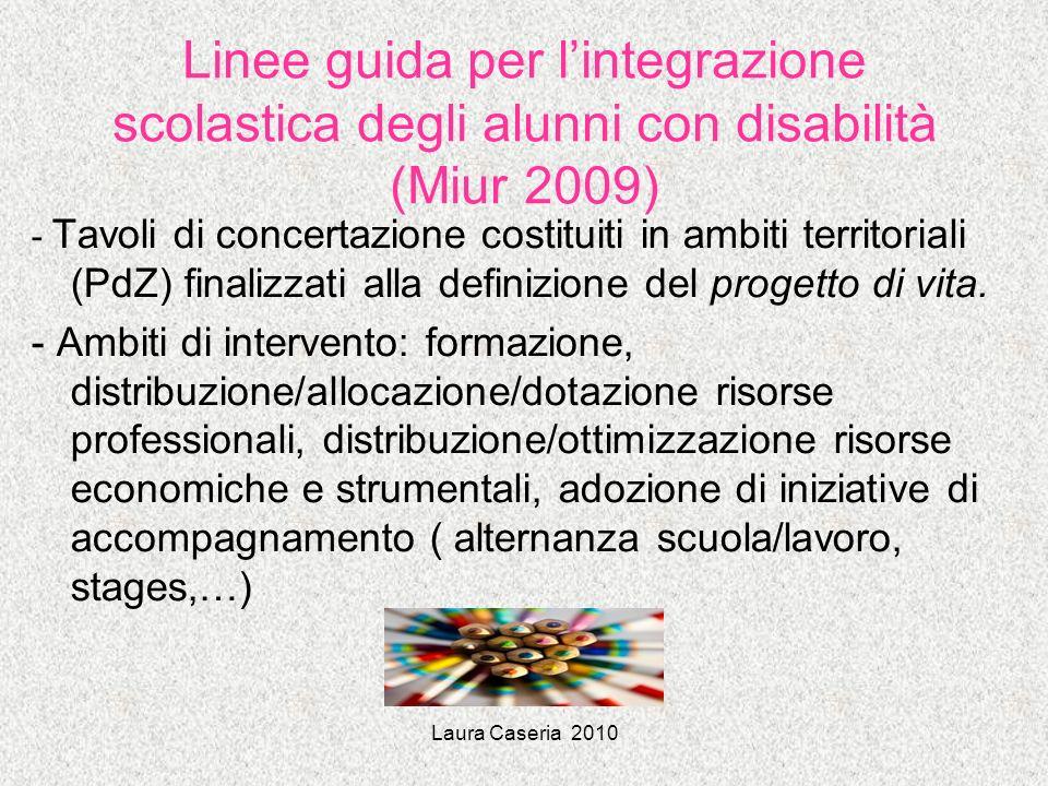 Laura Caseria 2010 Linee guida per lintegrazione scolastica degli alunni con disabilità (Miur 2009) - Tavoli di concertazione costituiti in ambiti ter