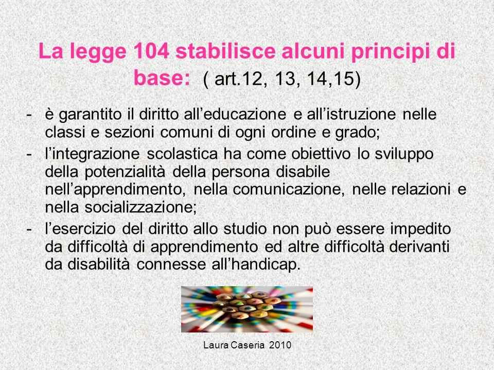 Laura Caseria 2010 La legge 104 stabilisce funzioni e competenze del processo di integrazione: -sanitaria (neuropsichiatria e riabilitazione) -ASL e AO -assistenziale (per gravi compromissioni nellautonomia e nella comunicazione) -Enti locali -educativa (insegnanti per il sostegno e curricolari) -Amministrazione scolastica