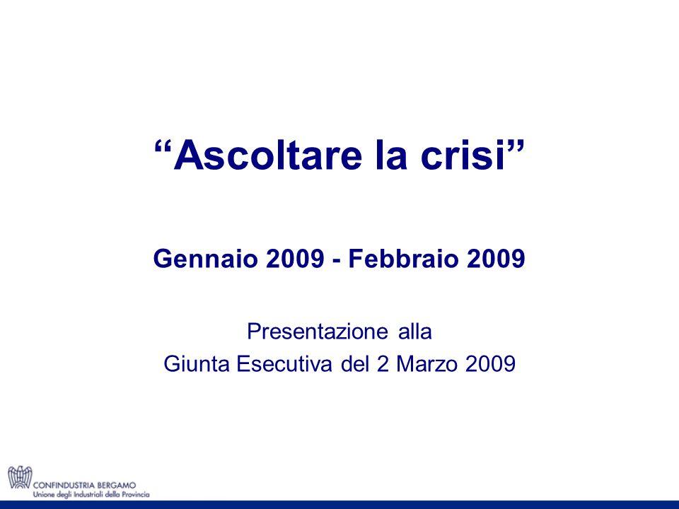 Ascoltare la crisi Gennaio 2009 - Febbraio 2009 Presentazione alla Giunta Esecutiva del 2 Marzo 2009