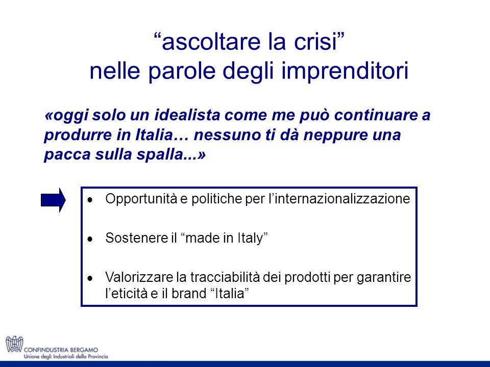 ascoltare la crisi nelle parole degli imprenditori Opportunità e politiche per linternazionalizzazione Sostenere il made in Italy Valorizzare la tracc