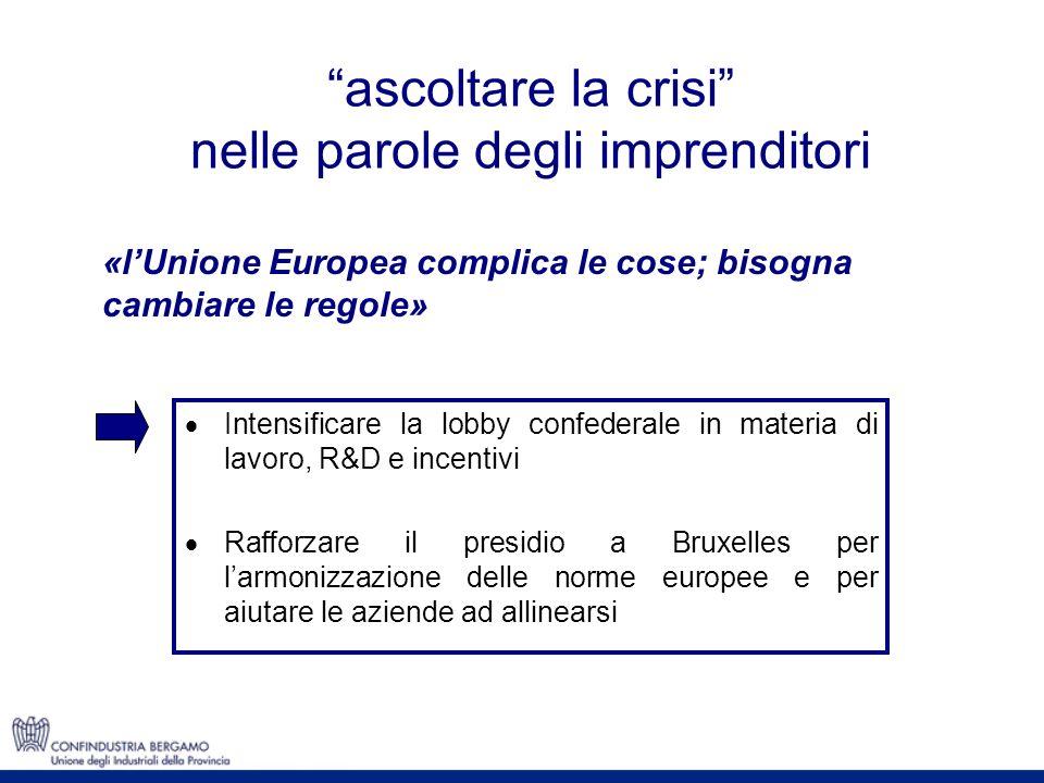 ascoltare la crisi nelle parole degli imprenditori «lUnione Europea complica le cose; bisogna cambiare le regole» Intensificare la lobby confederale i
