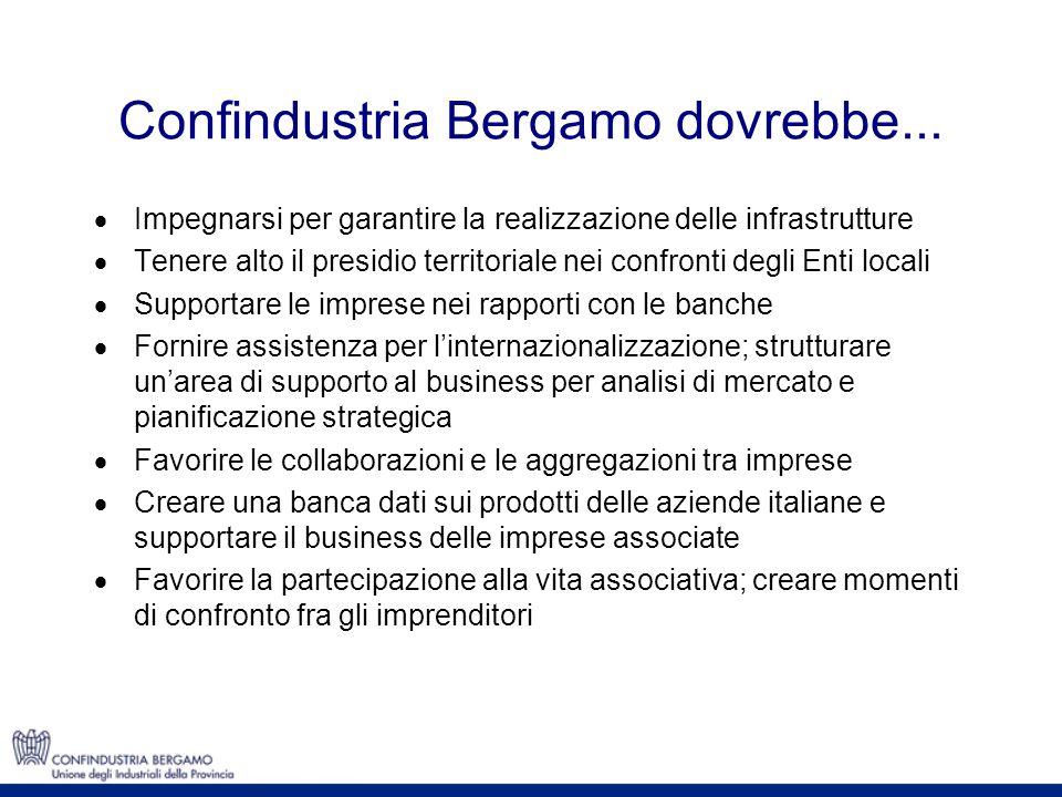 Confindustria Bergamo dovrebbe... Impegnarsi per garantire la realizzazione delle infrastrutture Tenere alto il presidio territoriale nei confronti de