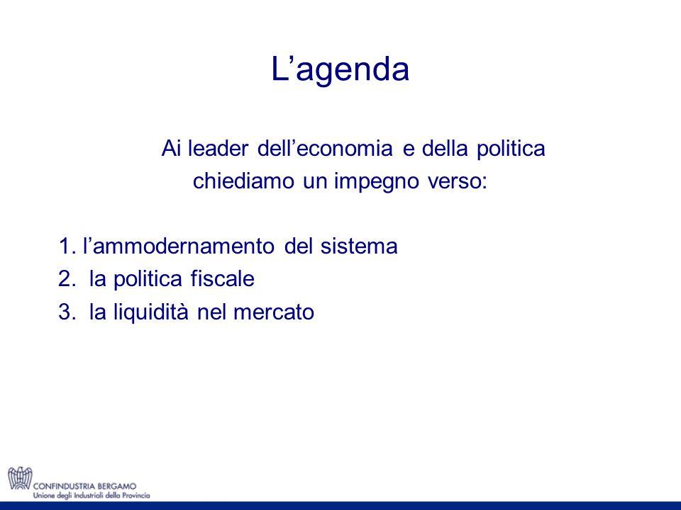 Ai leader delleconomia e della politica chiediamo un impegno verso: 1. lammodernamento del sistema 2. la politica fiscale 3. la liquidità nel mercato
