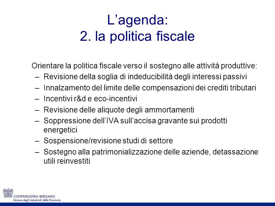 Lagenda: 2. la politica fiscale Orientare la politica fiscale verso il sostegno alle attività produttive: –Revisione della soglia di indeducibilità de