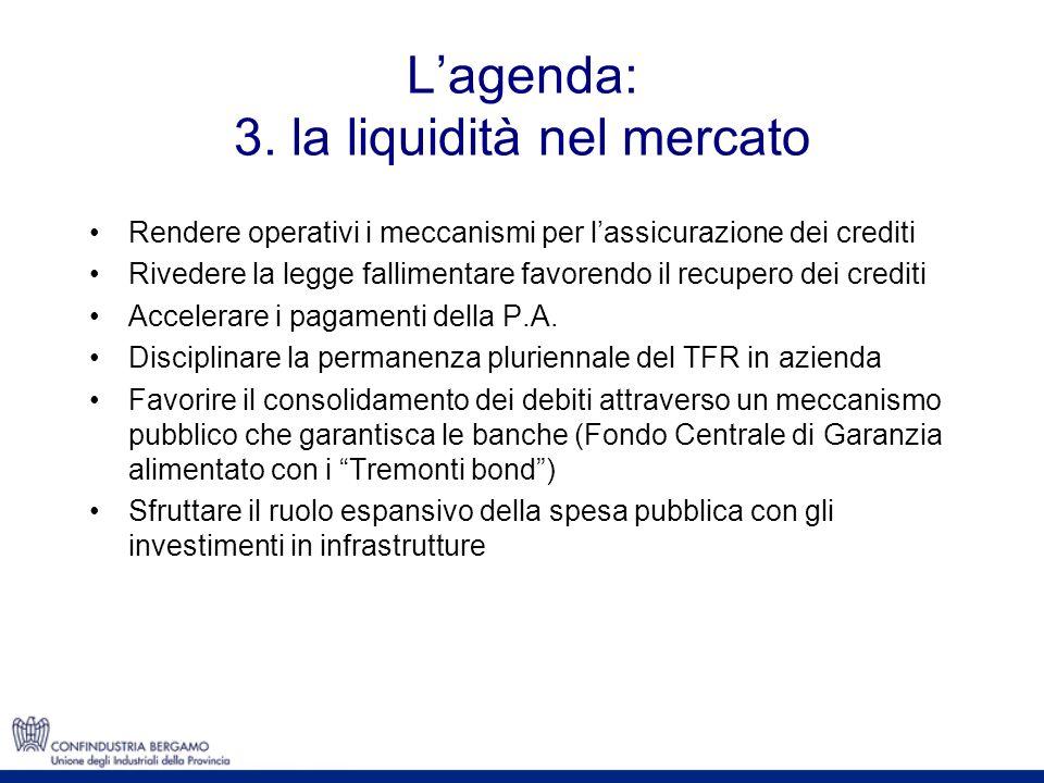 Lagenda: 3. la liquidità nel mercato Rendere operativi i meccanismi per lassicurazione dei crediti Rivedere la legge fallimentare favorendo il recuper