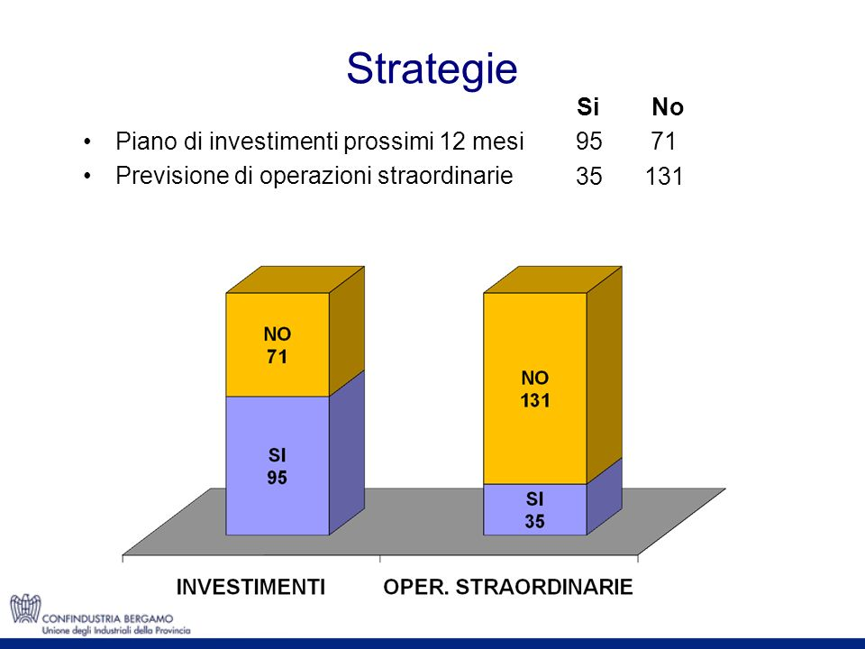 Strategie Piano di investimenti prossimi 12 mesi Previsione di operazioni straordinarie Si 95 35 No 71 131