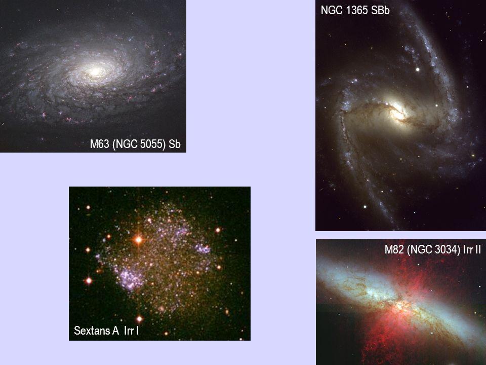 M63 (NGC 5055) Sb NGC 1365 SBb Sextans A Irr I M82 (NGC 3034) Irr II