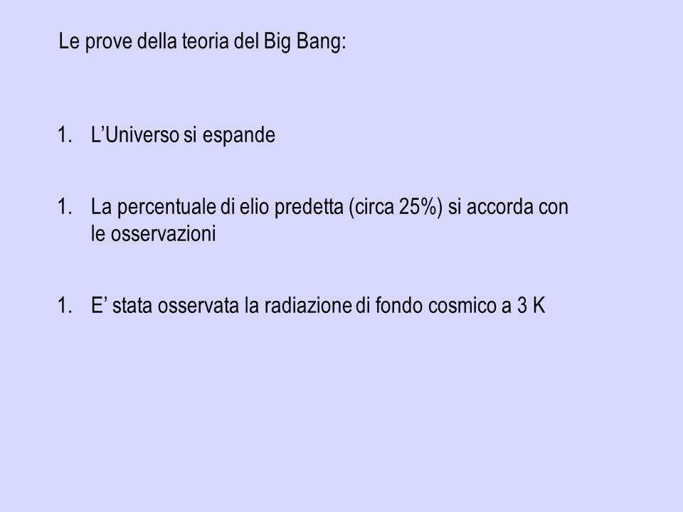 Le prove della teoria del Big Bang: 1.LUniverso si espande 1.La percentuale di elio predetta (circa 25%) si accorda con le osservazioni 1.E stata osservata la radiazione di fondo cosmico a 3 K