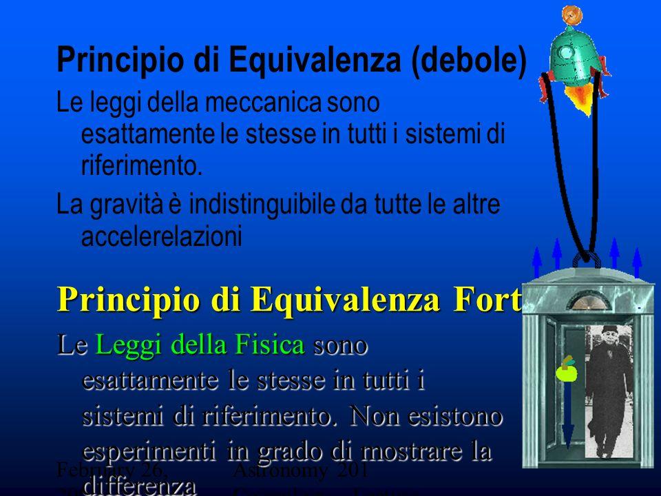 February 26, 2001 Astronomy 201 Cosmology - Lecture 19 Principio di Equivalenza (debole) Le leggi della meccanica sono esattamente le stesse in tutti i sistemi di riferimento.