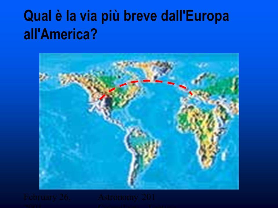 February 26, 2001 Astronomy 201 Cosmology - Lecture 19 Qual è la via più breve dall Europa all America?