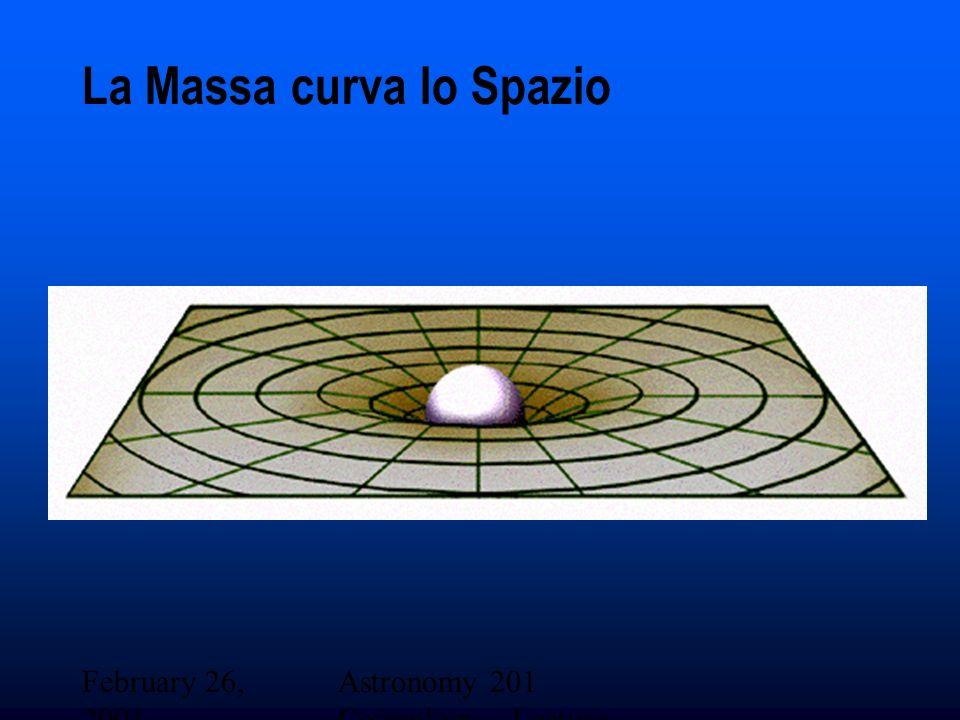 February 26, 2001 Astronomy 201 Cosmology - Lecture 19 La Massa curva lo Spazio
