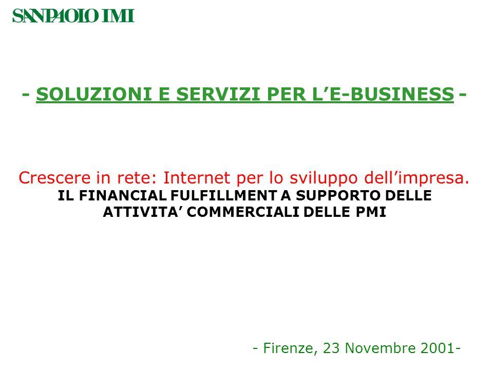 - SOLUZIONI E SERVIZI PER LE-BUSINESS - - Firenze, 23 Novembre 2001- Crescere in rete: Internet per lo sviluppo dellimpresa. IL FINANCIAL FULFILLMENT
