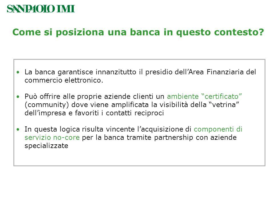 La banca garantisce innanzitutto il presidio dellArea Finanziaria del commercio elettronico. Può offrire alle proprie aziende clienti un ambiente cert