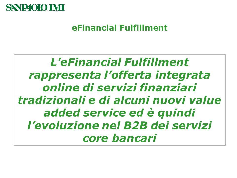 LeFinancial Fulfillment rappresenta lofferta integrata online di servizi finanziari tradizionali e di alcuni nuovi value added service ed è quindi lev