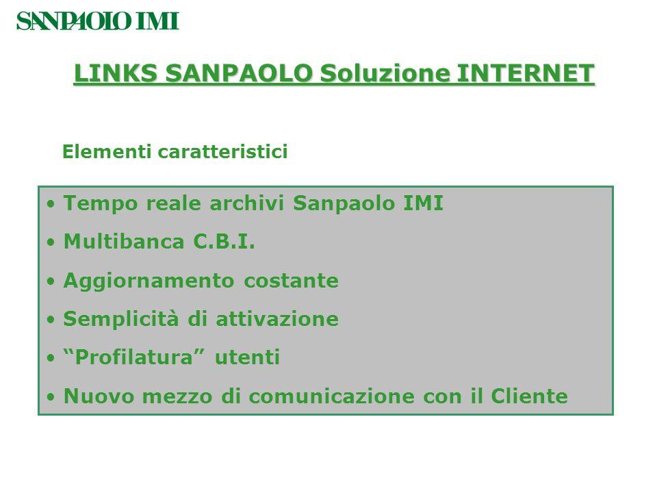 Tempo reale archivi Sanpaolo IMI Multibanca C.B.I. Aggiornamento costante Semplicità di attivazione Profilatura utenti Nuovo mezzo di comunicazione co