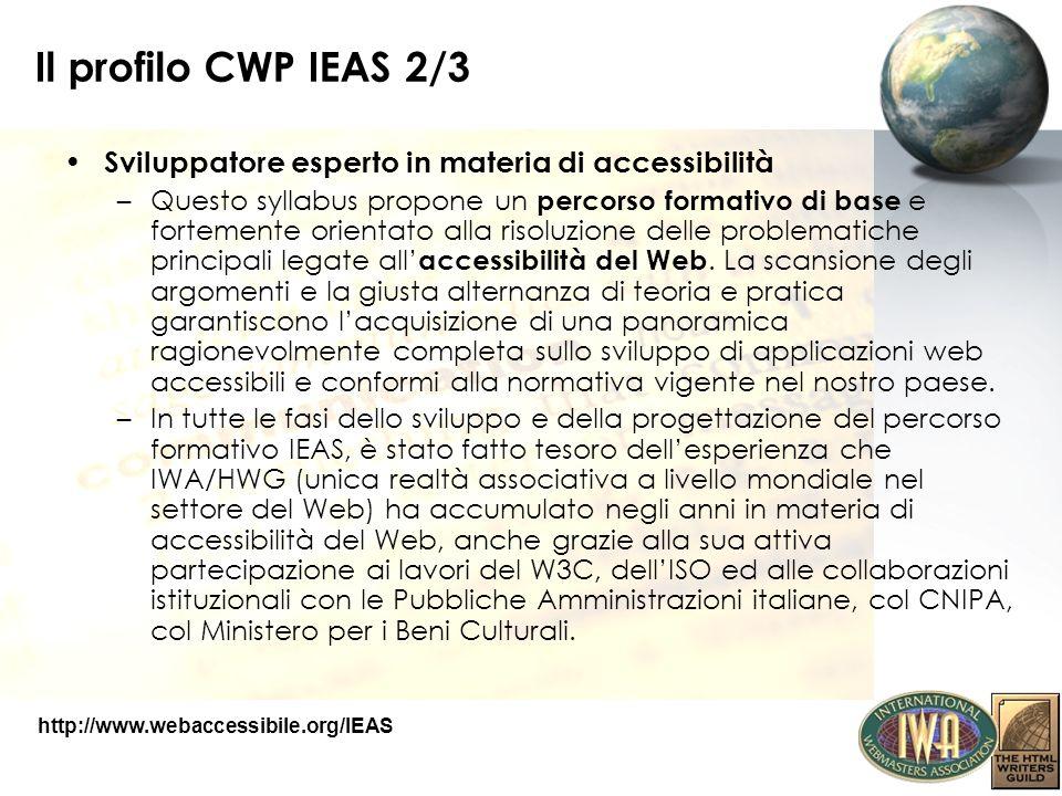 Il profilo CWP IEAS 2/3 Sviluppatore esperto in materia di accessibilità –Questo syllabus propone un percorso formativo di base e fortemente orientato
