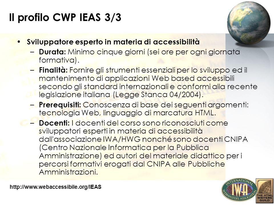 Il profilo CWP IEAS 3/3 Sviluppatore esperto in materia di accessibilità – Durata: Minimo cinque giorni (sei ore per ogni giornata formativa). – Final