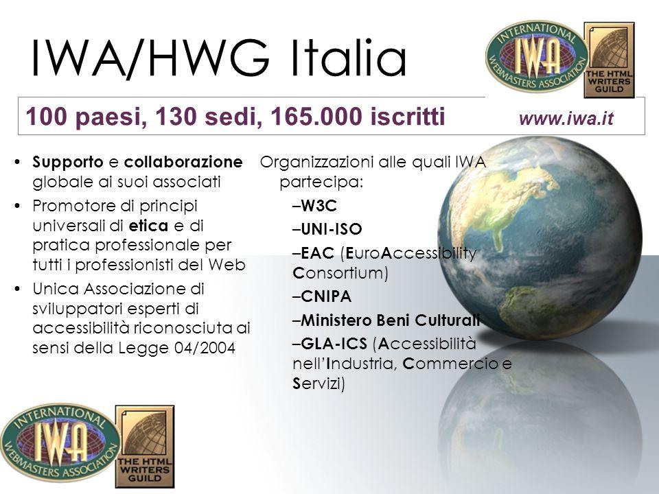 IWA/HWG Italia Seminari in-formativi Corsi specialistici WAS (Web Accessibility Specialist) –Web Operator –Content Manager –Web Designer –Application Developer Attivita Formative http://educational.iwa-italy.org Più di 500 persone formate in due anni