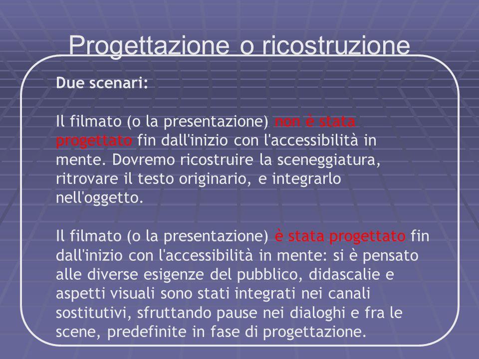 Progettazione o ricostruzione Due scenari: Il filmato (o la presentazione) non è stata progettato fin dall'inizio con l'accessibilità in mente. Dovrem