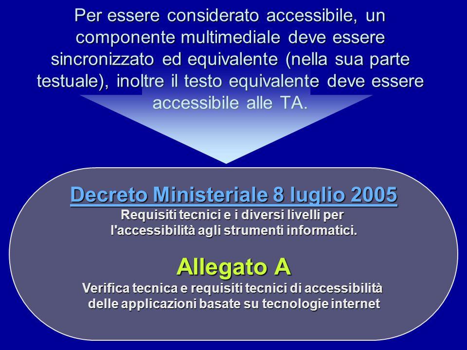 Per essere considerato accessibile, un componente multimediale deve essere sincronizzato ed equivalente (nella sua parte testuale), inoltre il testo e