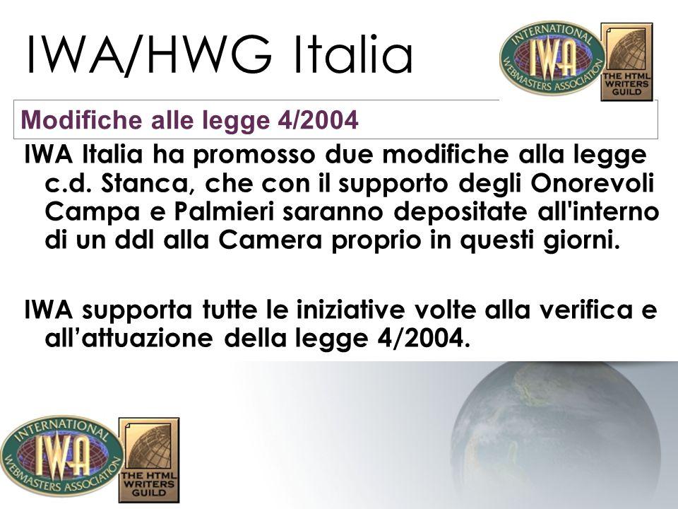 IWA/HWG Italia IWA Italia ha promosso due modifiche alla legge c.d. Stanca, che con il supporto degli Onorevoli Campa e Palmieri saranno depositate al