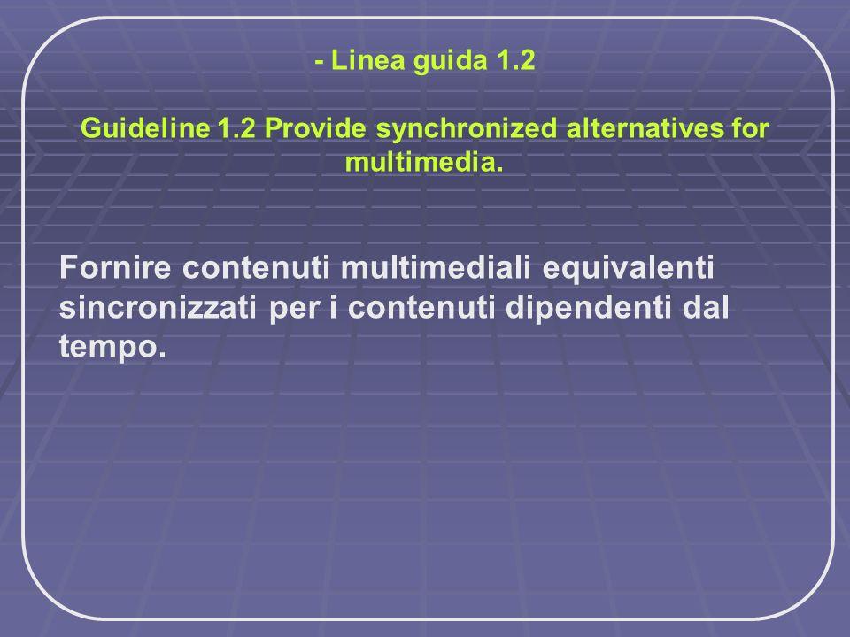 - Linea guida 1.2 Guideline 1.2 Provide synchronized alternatives for multimedia. Fornire contenuti multimediali equivalenti sincronizzati per i conte