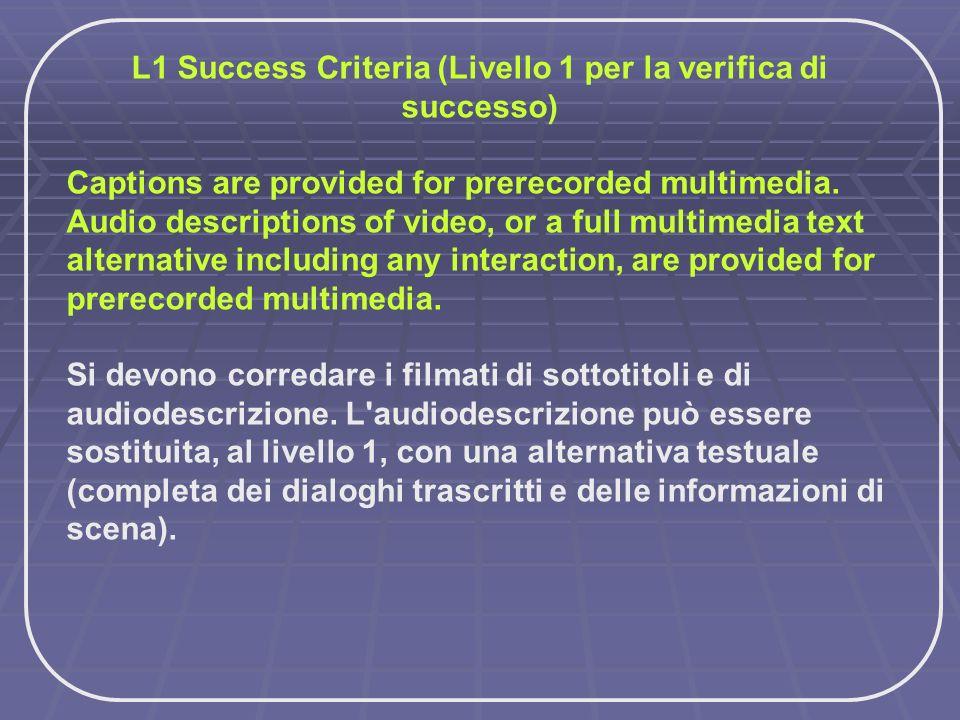 L1 Success Criteria (Livello 1 per la verifica di successo) Captions are provided for prerecorded multimedia. Audio descriptions of video, or a full m