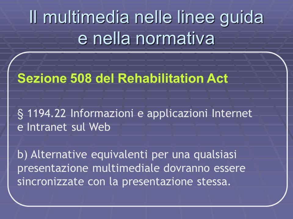 Sezione 508 del Rehabilitation Act § 1194.22 Informazioni e applicazioni Internet e Intranet sul Web b) Alternative equivalenti per una qualsiasi pres