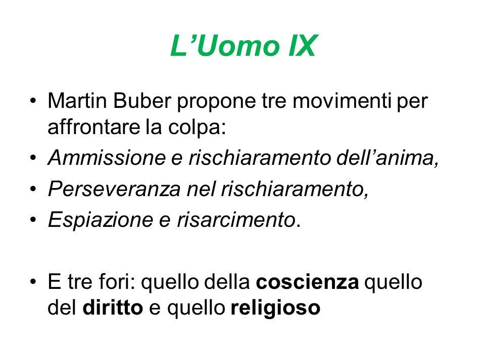 LUomo IX Martin Buber propone tre movimenti per affrontare la colpa: Ammissione e rischiaramento dellanima, Perseveranza nel rischiaramento, Espiazione e risarcimento.