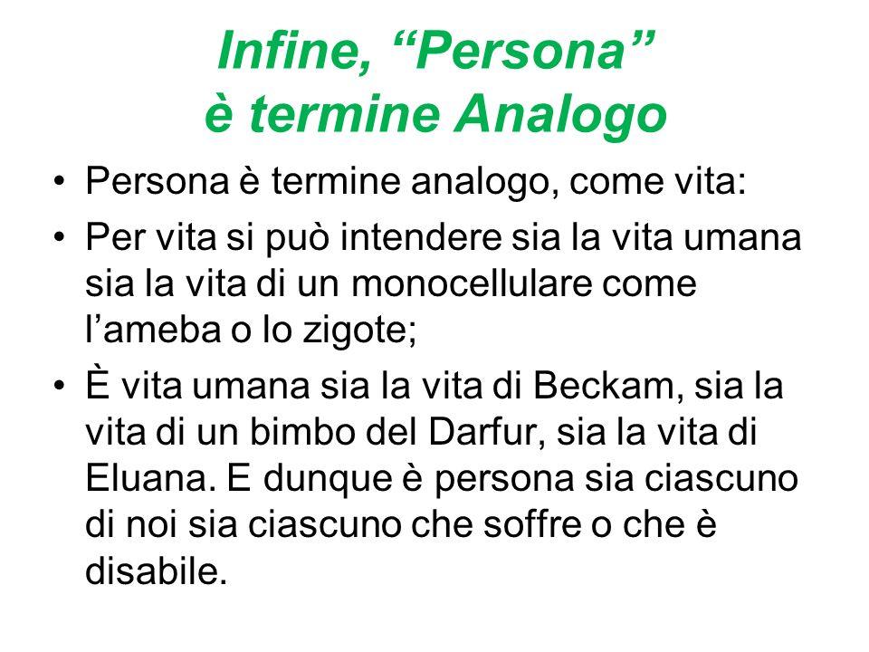 Infine, Persona è termine Analogo Persona è termine analogo, come vita: Per vita si può intendere sia la vita umana sia la vita di un monocellulare co