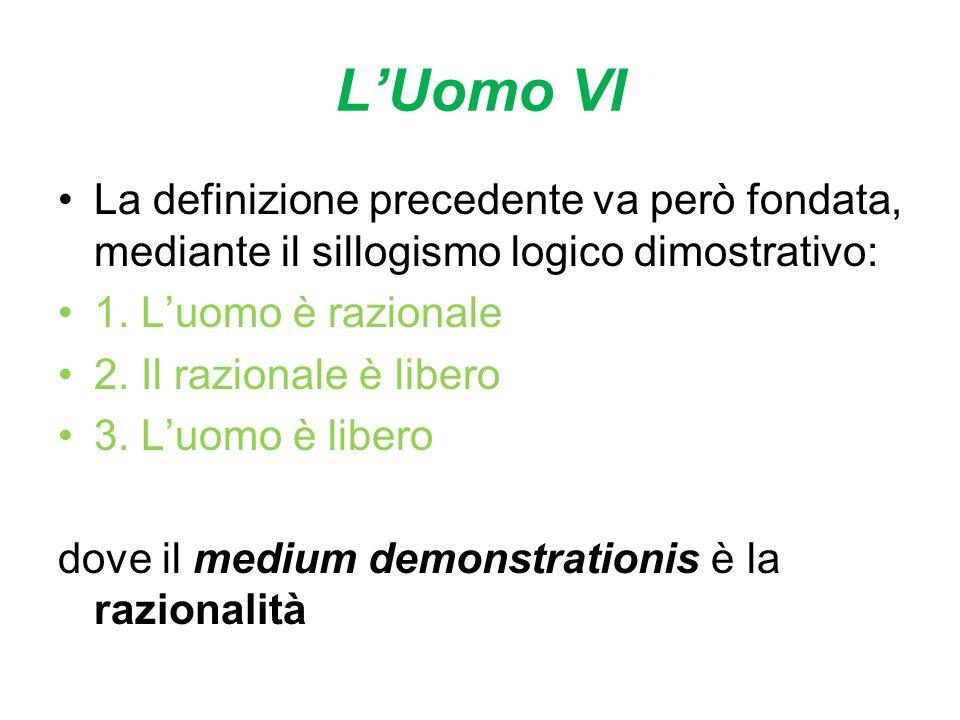 LUomo VI La definizione precedente va però fondata, mediante il sillogismo logico dimostrativo: 1. Luomo è razionale 2. Il razionale è libero 3. Luomo