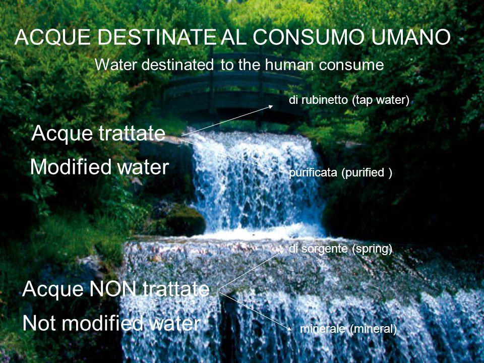 Acque minerali (Mineral water) Sono considerate acque minerali naturali le acque che, avendo origine da una falda o giacimento sotterraneo, provengono da una o più sorgenti naturali o perforate e che hanno caratteristiche igieniche particolari e proprietà favorevoli alla salute.