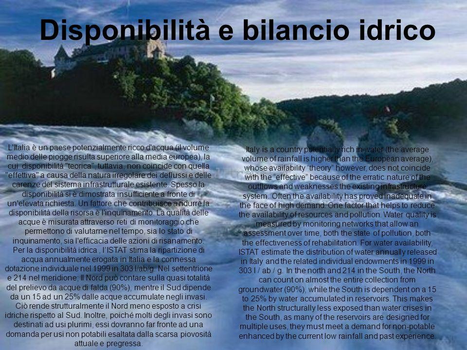 Disponibilità e bilancio idrico L'Italia è un paese potenzialmente ricco d'acqua (il volume medio delle piogge risulta superiore alla media europea),
